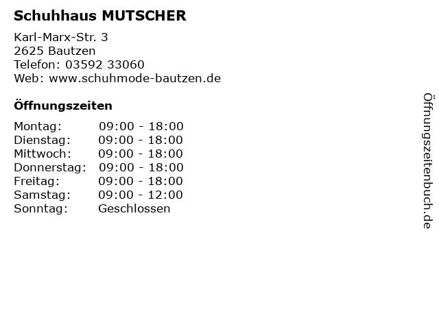 Schuhhaus MUTSCHER in Bautzen: Adresse und Öffnungszeiten