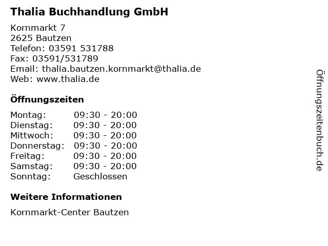 Thalia Buchhandlung GmbH in Bautzen: Adresse und Öffnungszeiten