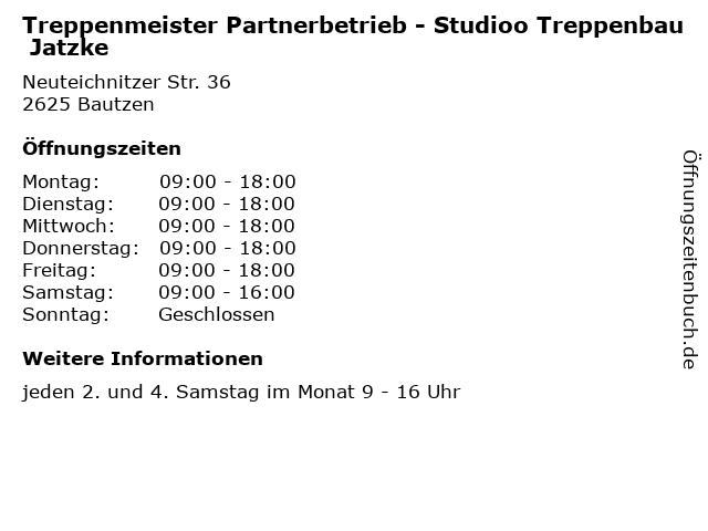 """Treppenbau Jatzke ᐅ Öffnungszeiten """"treppenmeister partnerbetrieb - studioo"""