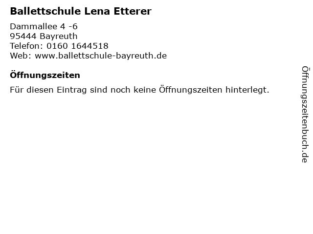 Ballettschule Lena Etterer in Bayreuth: Adresse und Öffnungszeiten