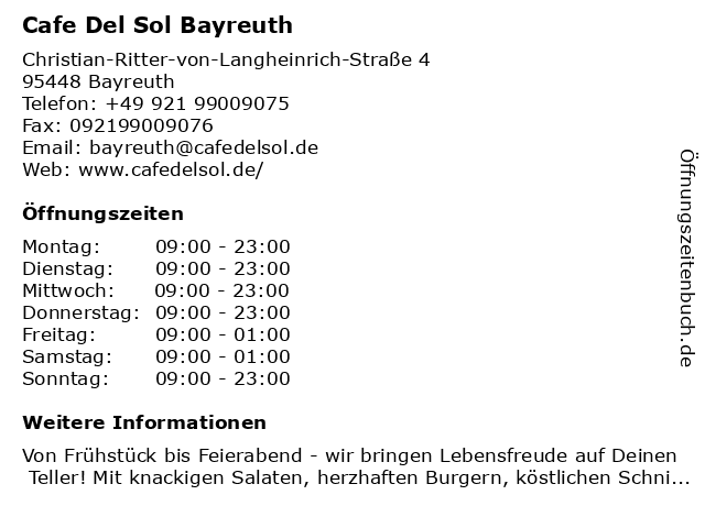Cafe Del Sol Bayreuth in Bayreuth: Adresse und Öffnungszeiten