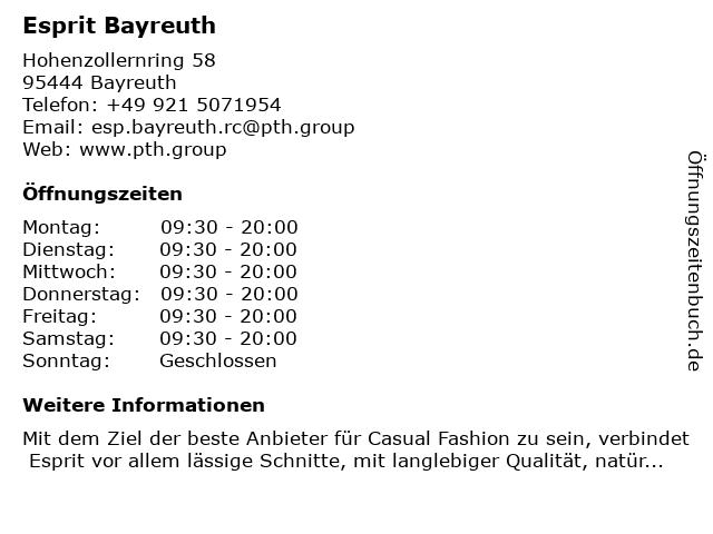 Esprit Bayreuth in Bayreuth: Adresse und Öffnungszeiten