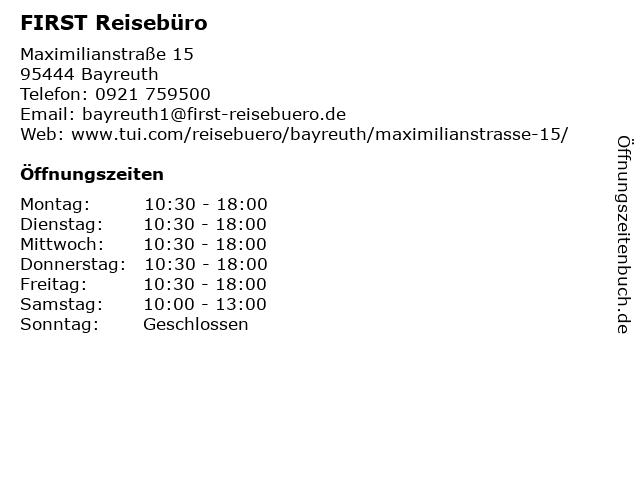 FIRST REISEBÜRO in Bayreuth: Adresse und Öffnungszeiten