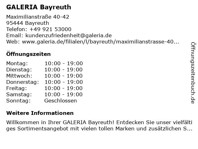 Karstadt Bayreuth in Bayreuth: Adresse und Öffnungszeiten