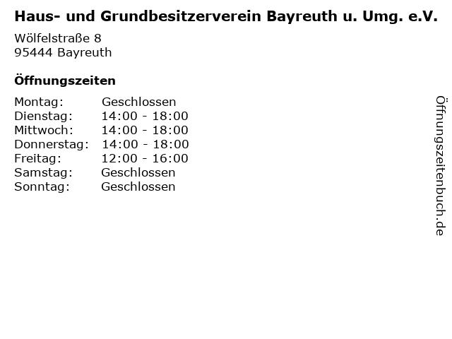 ᐅ öffnungszeiten Haus Und Grundbesitzerverein Bayreuth U Umg