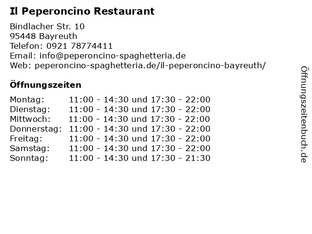 Il Peperoncino Restaurant in Bayreuth: Adresse und Öffnungszeiten
