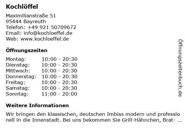 Kochlöffel in Bayreuth: Adresse und Öffnungszeiten