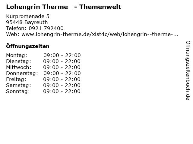 Lohengrin Therme   - Themenwelt in Bayreuth: Adresse und Öffnungszeiten