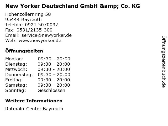 New Yorker Deutschland GmbH & Co. KG in Bayreuth: Adresse und Öffnungszeiten