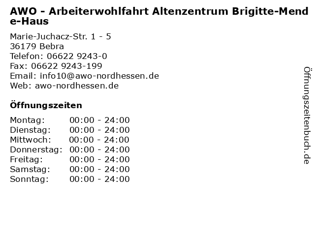 AWO - Arbeiterwohlfahrt Altenzentrum Brigitte-Mende-Haus in Bebra: Adresse und Öffnungszeiten