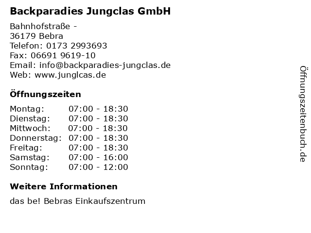 Backparadies Jungclas GmbH in Bebra: Adresse und Öffnungszeiten