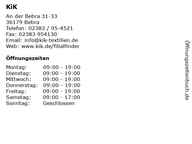 KiK Textilien & Non-Food GmbH in Bebra: Adresse und Öffnungszeiten