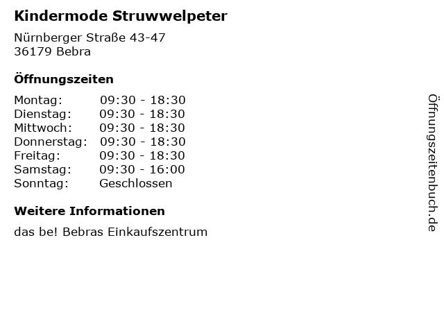 Kindermode Struwwelpeter in Bebra: Adresse und Öffnungszeiten