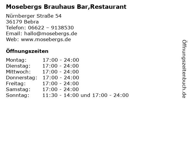 Mosebergs Bar Food Friends in Bebra: Adresse und Öffnungszeiten