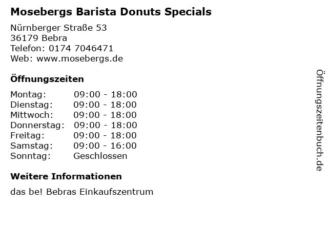 Mosebergs Barista Donuts Specials in Bebra: Adresse und Öffnungszeiten
