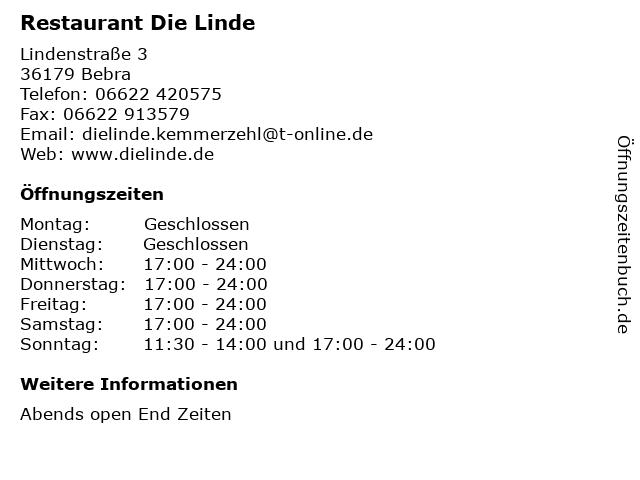 Restaurant Die Linde in Bebra: Adresse und Öffnungszeiten