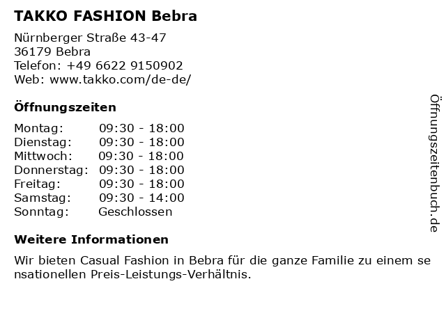 Takko Fashion in Bebra: Adresse und Öffnungszeiten