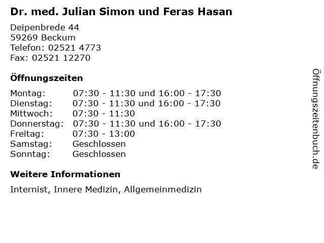 Dr. med. Julian Simon in Beckum: Adresse und Öffnungszeiten