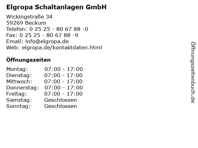 Elgropa Schaltanlagen GmbH in Beckum: Adresse und Öffnungszeiten