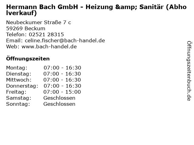 ᐅ Offnungszeiten Hermann Bach Gmbh Heizung Sanitar