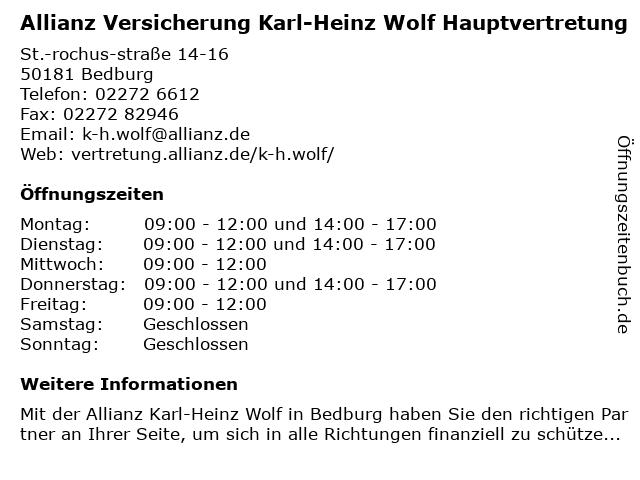 Allianz Vertretung Karl-Heinz Wolf in Bedburg: Adresse und Öffnungszeiten