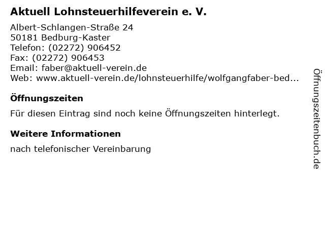 Aktuell Lohnsteuerhilfeverein e. V. in Bedburg-Kaster: Adresse und Öffnungszeiten