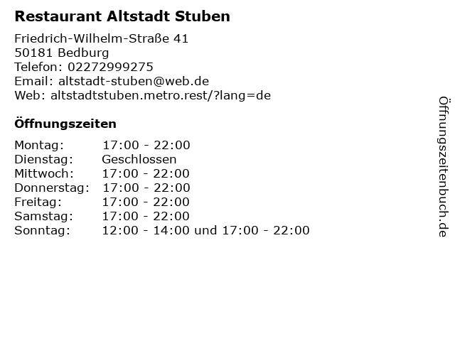 Restaurant Altstadt Stuben in Bedburg: Adresse und Öffnungszeiten