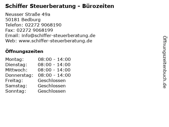 Schiffer Steuerberatung - Bürozeiten in Bedburg: Adresse und Öffnungszeiten