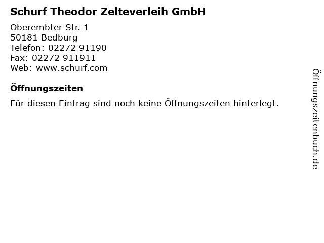 Schurf Theodor Zelteverleih GmbH in Bedburg: Adresse und Öffnungszeiten