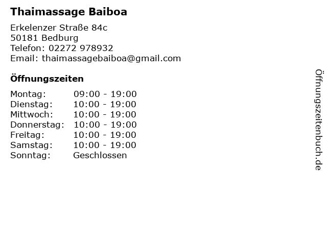 Thaimassage Baiboa in Bedburg: Adresse und Öffnungszeiten