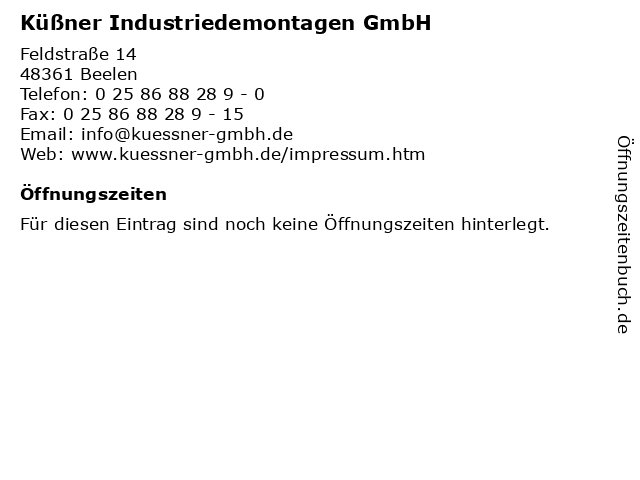 Küßner Industriedemontagen GmbH in Beelen: Adresse und Öffnungszeiten