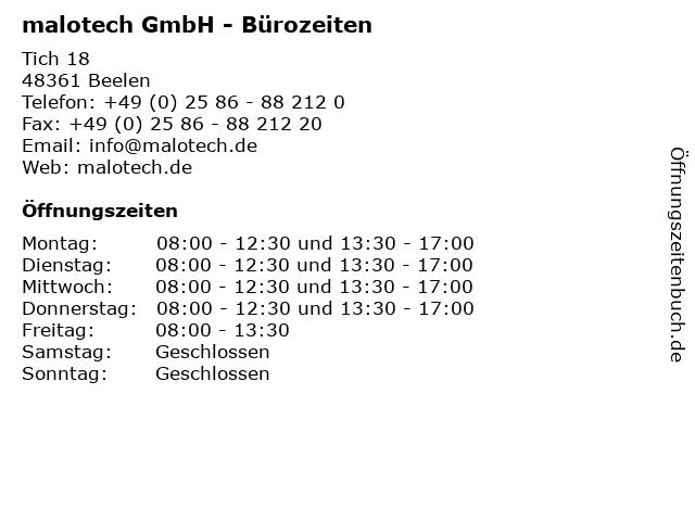 malotech GmbH - Bürozeiten in Beelen: Adresse und Öffnungszeiten