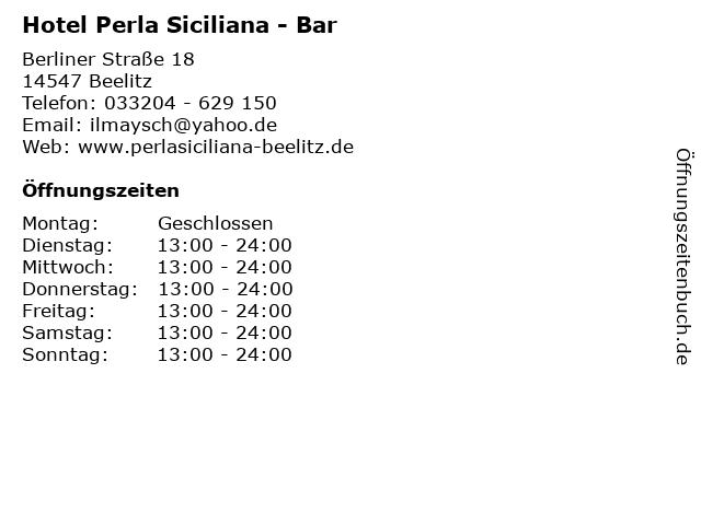 Hotel Perla Siciliana - Bar in Beelitz: Adresse und Öffnungszeiten