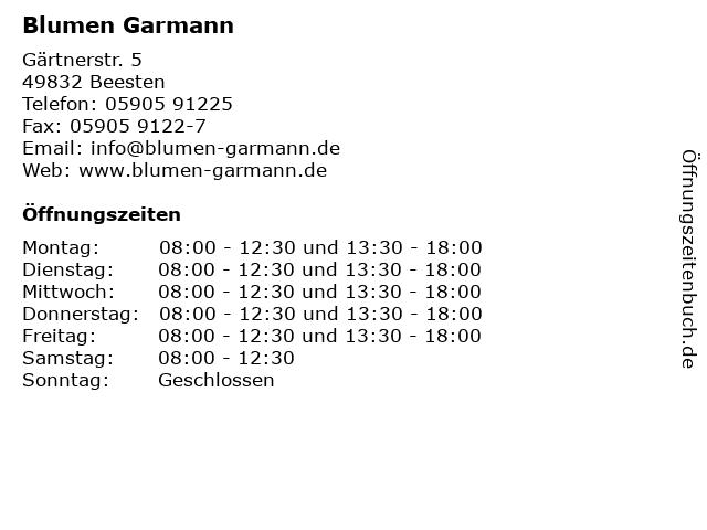 Blumen Garmann in Beesten: Adresse und Öffnungszeiten