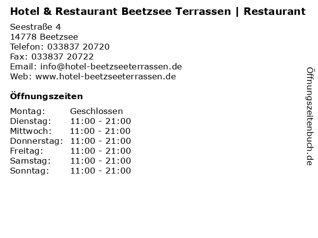 Hotel & Restaurant Beetzsee Terrassen | Restaurant in Beetzsee: Adresse und Öffnungszeiten