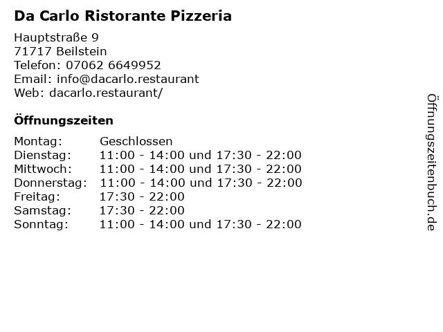 Da Carlo Ristorante Pizzeria in Beilstein: Adresse und Öffnungszeiten