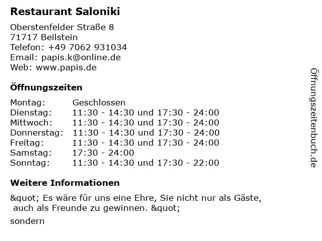 Restaurant Saloniki in Beilstein: Adresse und Öffnungszeiten