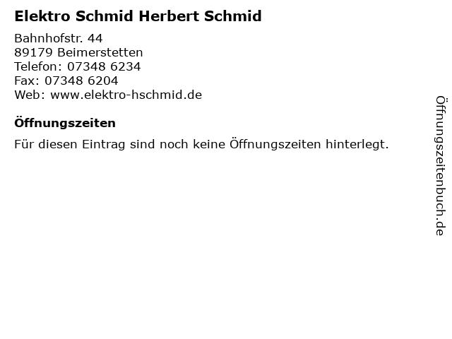 Elektro Schmid Herbert Schmid in Beimerstetten: Adresse und Öffnungszeiten
