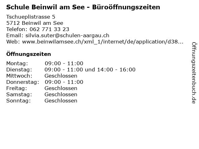 Schule Beinwil am See - Büroöffnungszeiten in Beinwil am See: Adresse und Öffnungszeiten