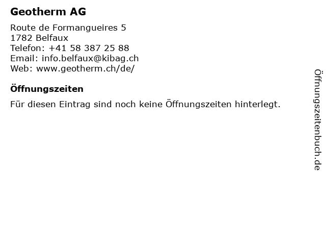 Geotherm AG in Belfaux: Adresse und Öffnungszeiten