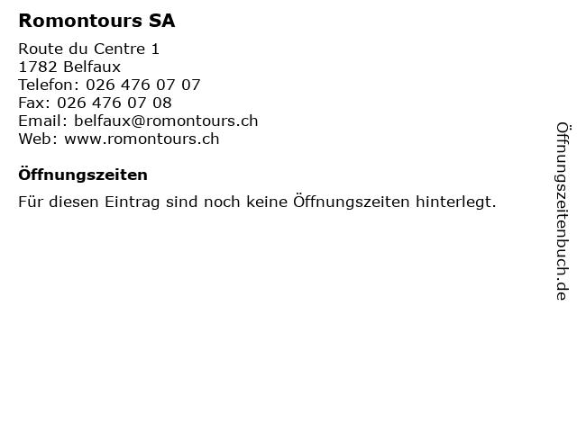 Romontours SA in Belfaux: Adresse und Öffnungszeiten