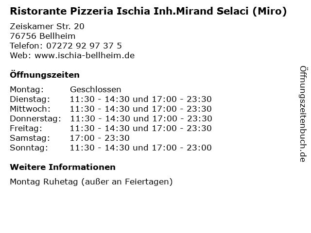 Ristorante Pizzeria Ischia Inh.Mirand Selaci (Miro) in Bellheim: Adresse und Öffnungszeiten