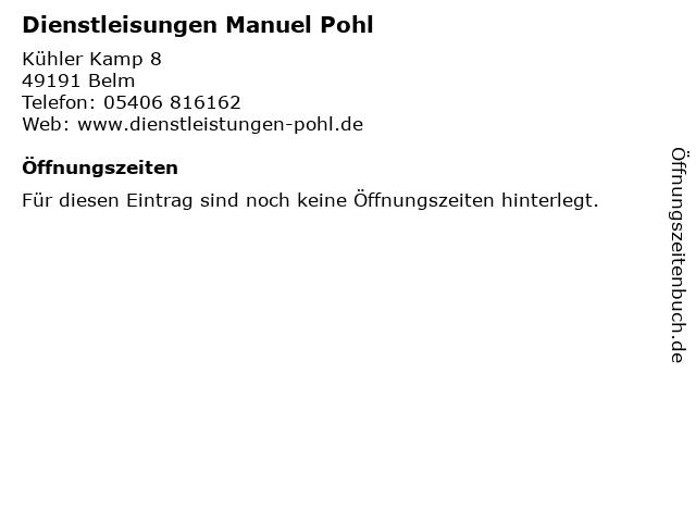 Dienstleisungen Manuel Pohl in Belm: Adresse und Öffnungszeiten