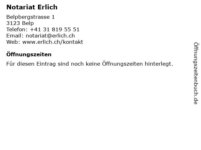 Notariat Erlich in Belp: Adresse und Öffnungszeiten