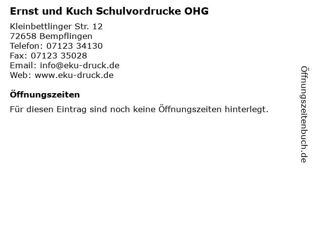 Ernst und Kuch Schulvordrucke OHG in Bempflingen: Adresse und Öffnungszeiten
