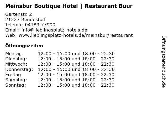 Meinsbur Boutique Hotel   Restaurant Buur in Bendestorf: Adresse und Öffnungszeiten