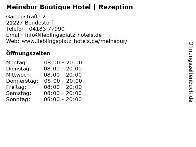 Meinsbur Boutique Hotel   Rezeption in Bendestorf: Adresse und Öffnungszeiten