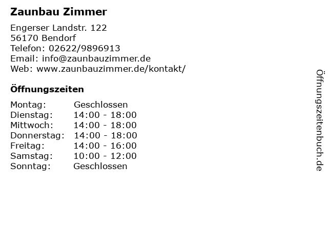 Zaunbau Zimmer in Bendorf: Adresse und Öffnungszeiten