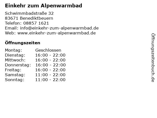 Einkehr zum Alpenwarmbad in Benediktbeuern: Adresse und Öffnungszeiten