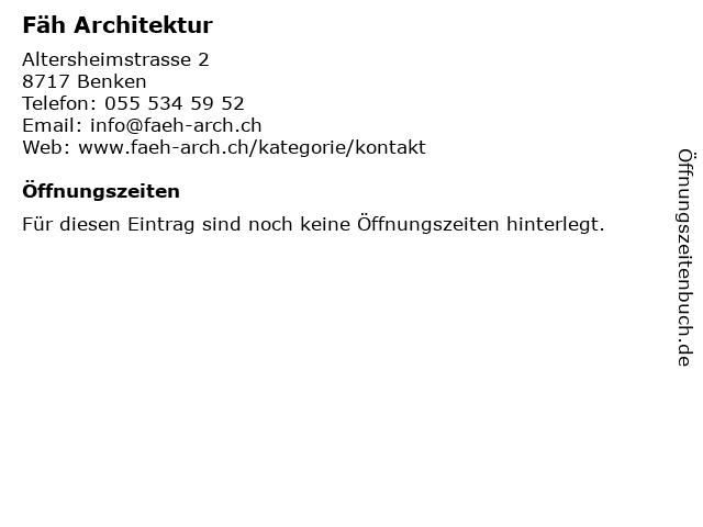 Fäh Architektur in Benken: Adresse und Öffnungszeiten